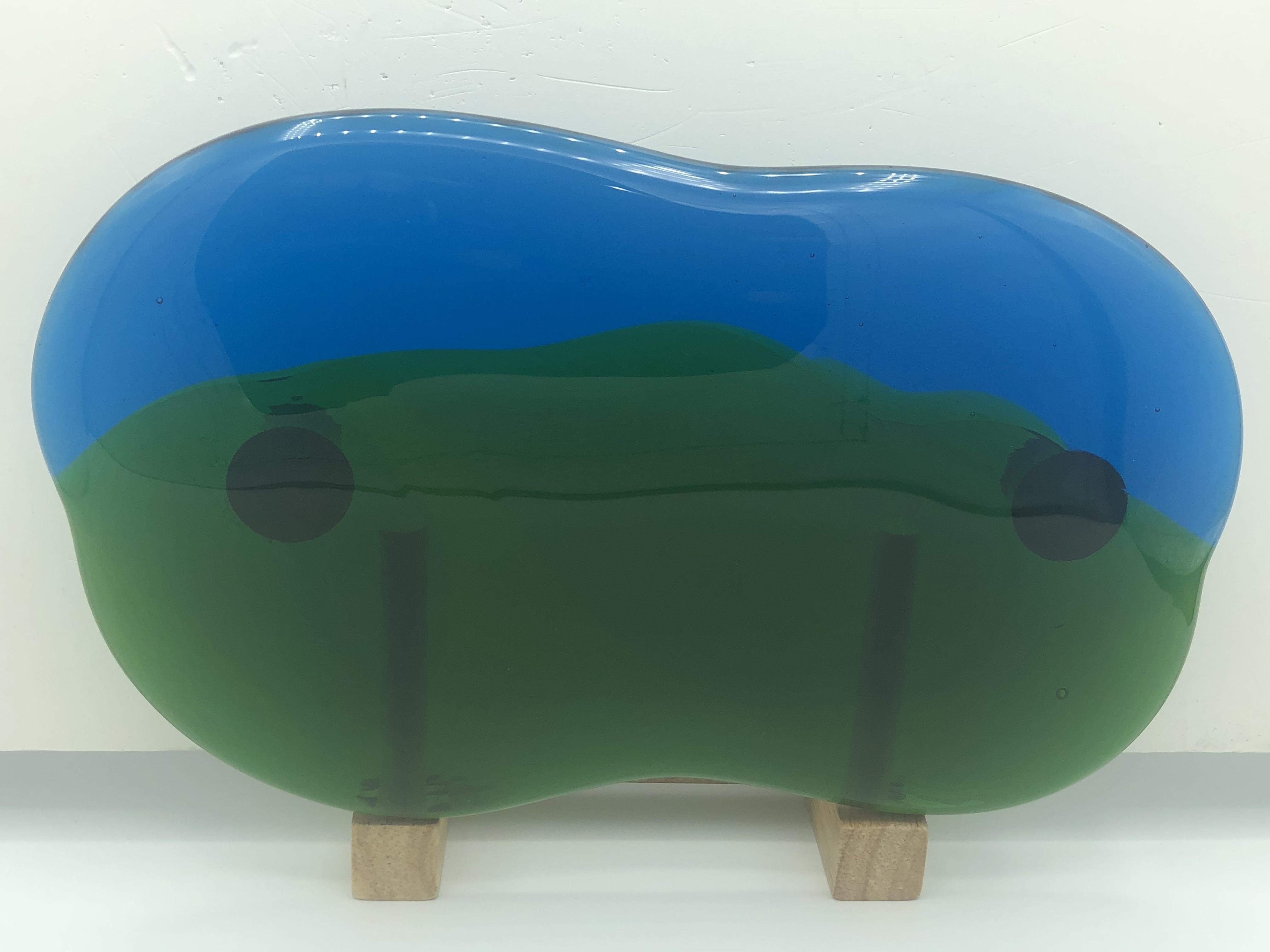 琉球ガラス表札水/緑