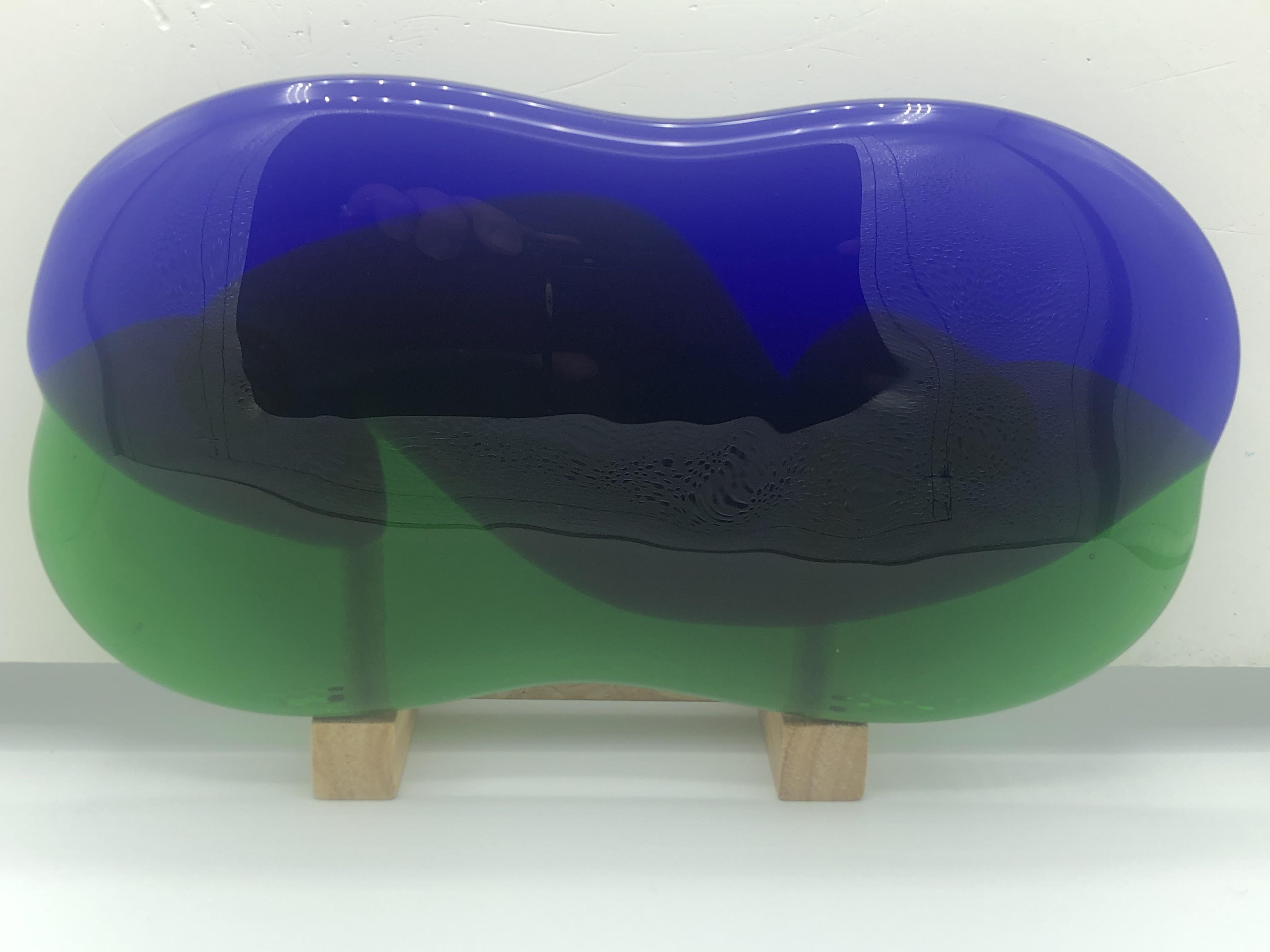 琉球ガラス表札青/緑
