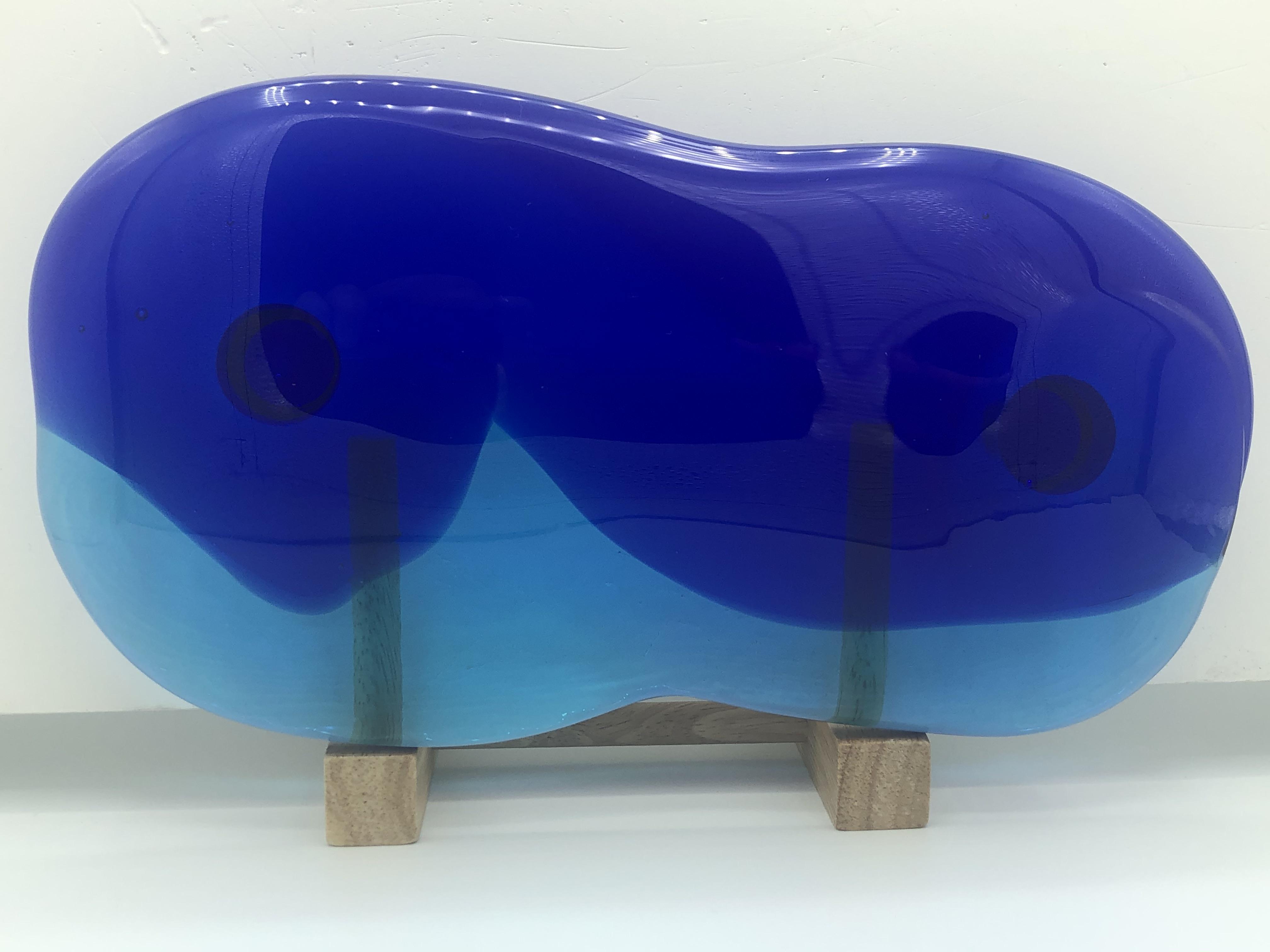 琉球ガラス表札青/水