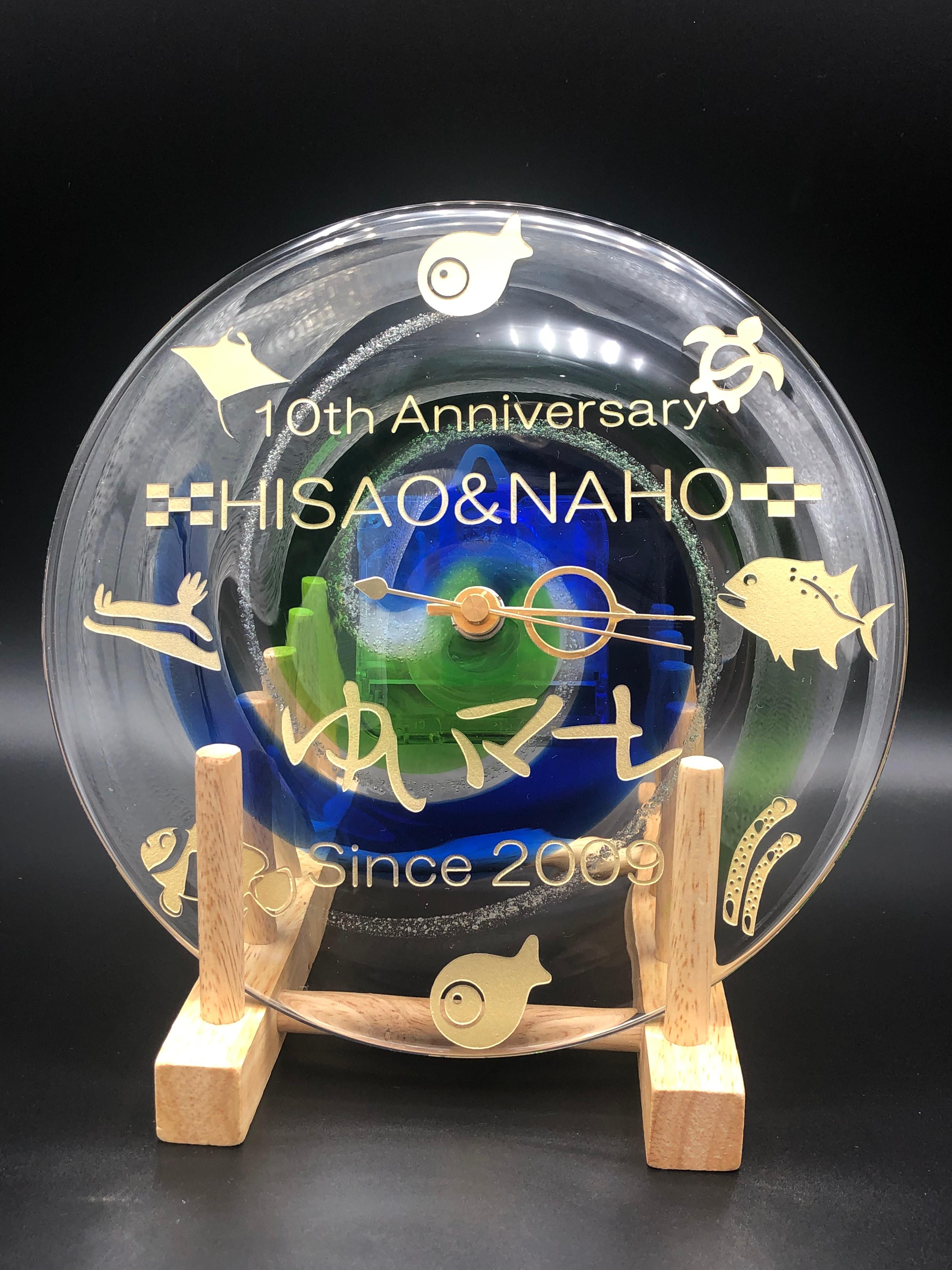 琉球ガラス時計青/緑